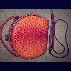 🔥Orange Ostrich Bag W/ Matching Wallet 💥
